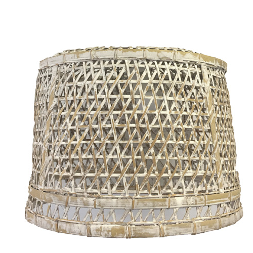 Rattan Shade, Limewash (incl Lead & Globe)