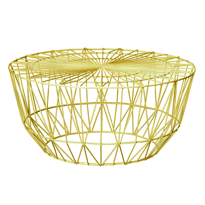 Wire Coffee Table; Gold