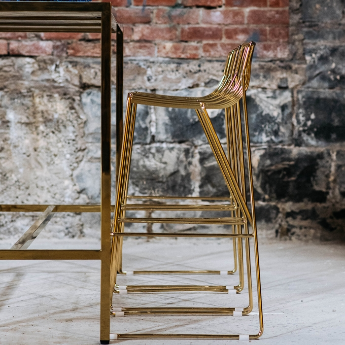 Wire Stool; Gold