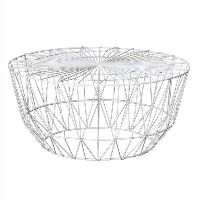 Wire Coffee Table; White