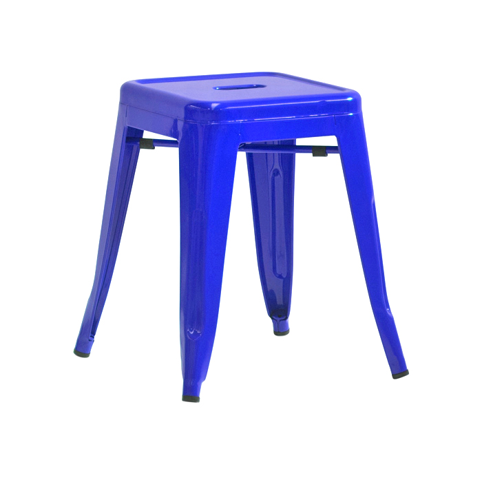 Tolix Low Stool; Blue