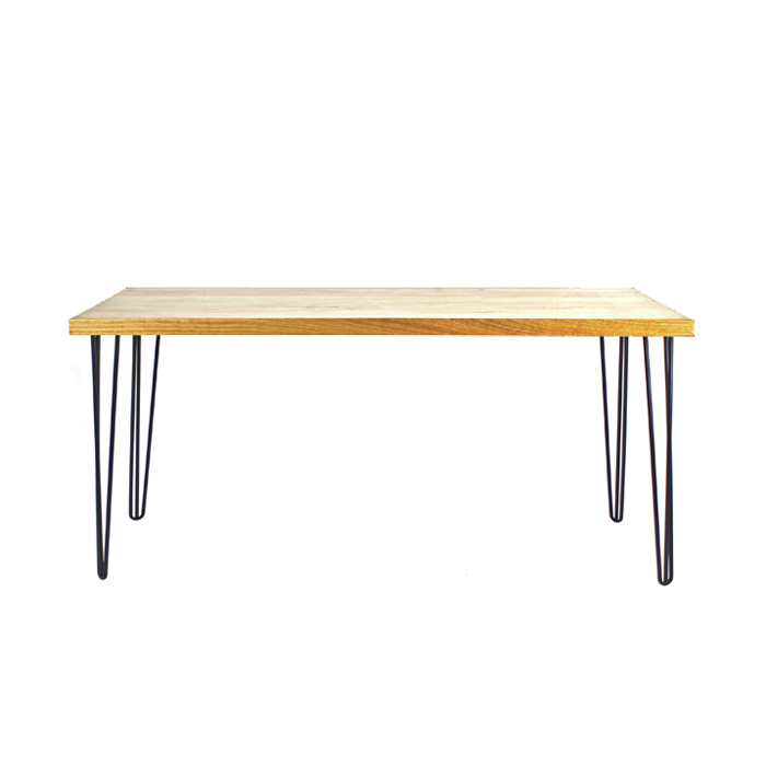 Hairpin Table Black/Oak; 1.8m x 1m