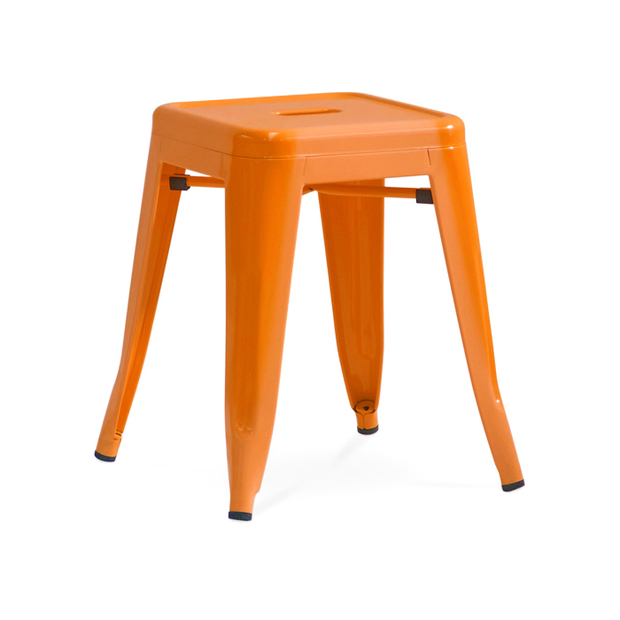 Tolix Low Stool; Orange