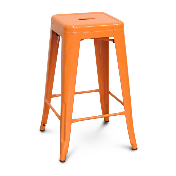 Tolix Bar Stool; Orange