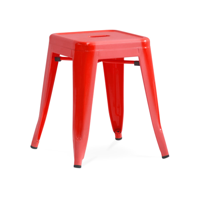 Tolix Low Stool; Red