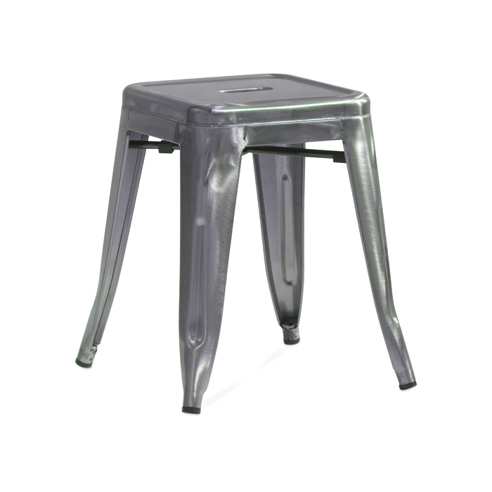 Tolix Low Stool; Gun Metal